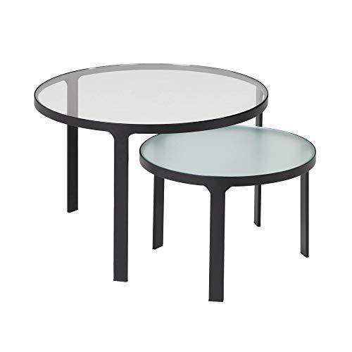 Kave Home - Set de 2 mesas auxiliares Nido Oni Redondas Ø 70 / Ø 50 cm de Cristal Templado Texturizado y Patas de Acero en Negro