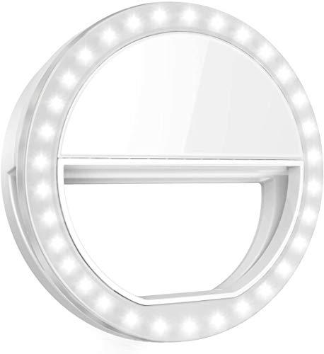 Rhodesy Anillo para selfie, pantalla táctil, clip de ajuste de brillo en 24 LED para smartphones