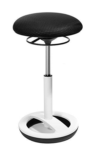 Topstar Sitness High Bob, Stehhilfe, Fitnesshocker, Arbeitshocker, Sitzhöhe: 49 - 70cm, Standfußring Alu weiß lackiert, Stoffbezug, schwarz