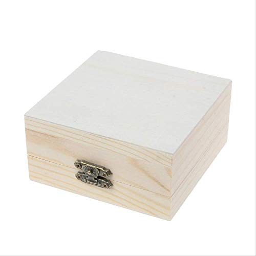 NYDZ Caja de madera natural sin terminar para guardar joyas, madera simple, madera, para manualidades, cuadrado (color: cuadrado)
