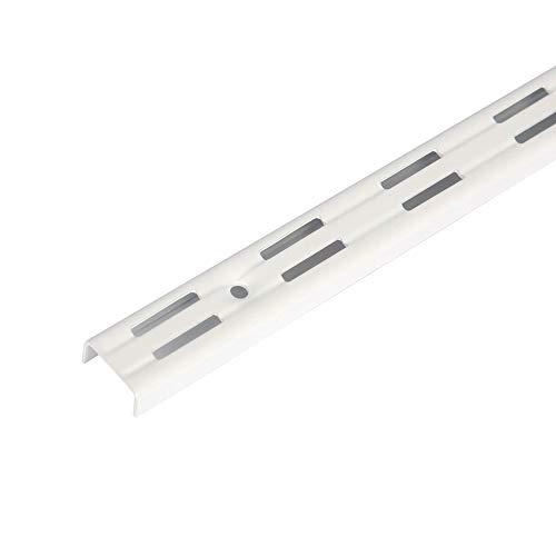Toolerando Perfil cremallera perforación doble para escuadras de estante/Riel de pared para soportes de estantes, 2 ranuras - Longitud: 150 cm, blanco