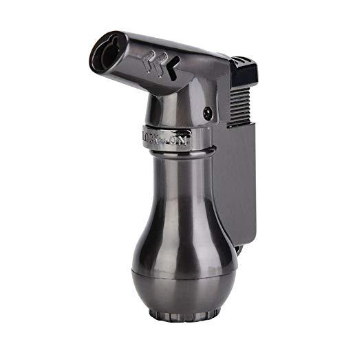 Asixx Gasfeuerzeug, Tragbares Winddichtes Gas Butanfeuerzeug Brenner BBQ Herd Zünder Barbaque Grill Werkzeuge Gasfeuerzeug(Grau)