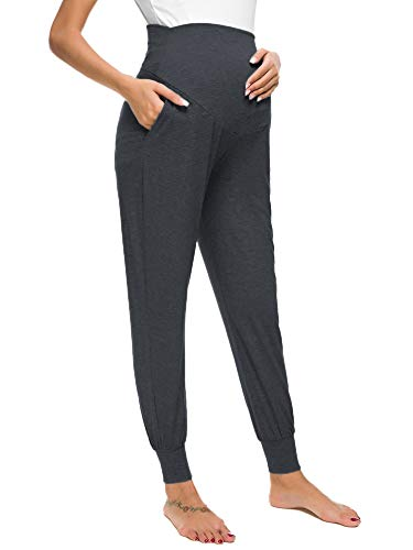Liu & Qu Maternity Women's Casual Pants Stretchy Comfortable Lounge Pants Dark Gray