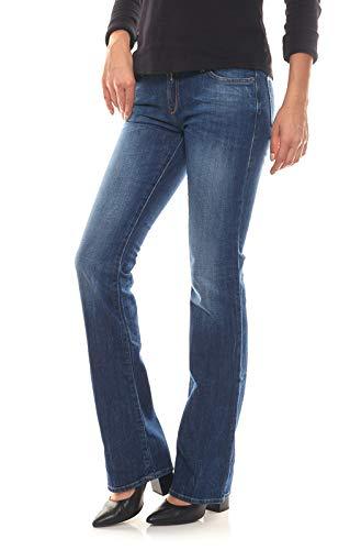 Replay Damen Jeans Ramean Bootcut Low Waist Jeans Hose mid Blue Denim Schrittlänge L34, Größe W28