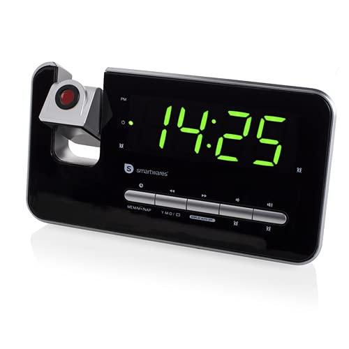 Audiosonic Smartwares CL-1492, Reloj despertador con dos alarmas, radio FM, proyector