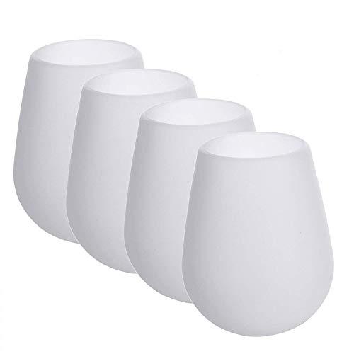 DEWEL Silikon-Weingläser Wein-Set mit 4 Gläsern Unbreakable Silikon-Becher 12 oz, spülmaschinenfest bruchsicher Stemless Weinglas für Reisen Camping, Picknick und BBQ (Weiß)