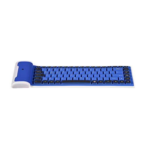 Tastiera Wireless Bluetooth Pieghevole a 87 Tasti, Tastiera Wireless in Silicone Ultrasottile Portatile per PC Laptop, Impermeabile, a Prova di Radiazioni, a Prova di Polvere(Blu)
