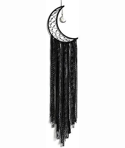 Wdszb Moon Dream Catcher Atrapasueños Negro Medio círculo Atrapasueños Hechos a Mano Colgante de Pared Boho Decoración Macramé para niños Dormitorio Decoración del hogar Adorno Artesanía Regalo (N