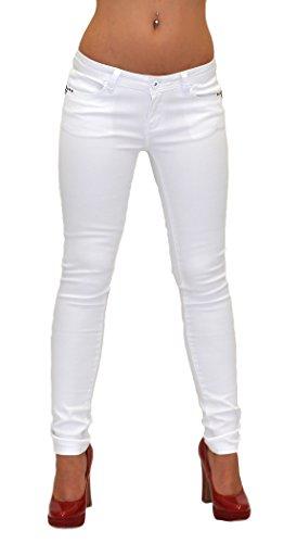 ESRA Damen Jeans Hose Skinny Jeanshose weiß und schwarz Röhrenjeans und Bootcut für Praxis J07
