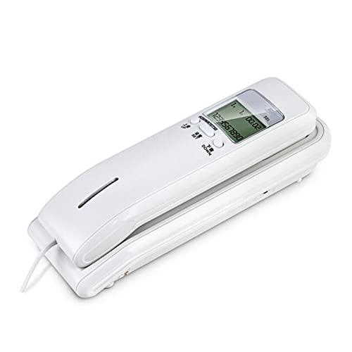 LYQQQQ Teléfono con Cable con Pantalla LCD Dual, Identificador de Llamadas, Sistemas duales, Teléfono de Pared de Escritorio de Volumen de Tono de Llamada Ajustable para el hogar (Color : White)