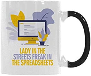 Coffee Mug Funny Magic Color Changing Mugs Heat Sensitive Ceramic Tea Cup - Lady In The Streets Freak In The Spreadsheets Coffee Mug 11 Ounce
