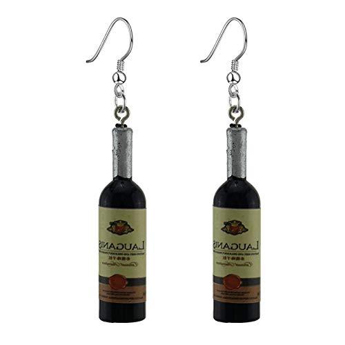 N/A Orecchini Pendenti Imitazione Bottiglia di Vino Orecchini Pendenti Femminili Blu Giallo Rosso ER34