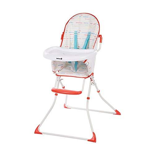 Safety 1st Kanji Trona para bebé Plegable, Compacta y Ajustable, trona bebé con cojín por niños 6 meses - 3 años, Color Red Lines
