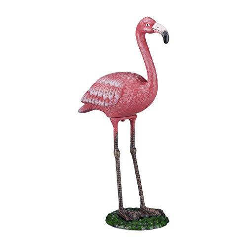 Relaxdays 10022961_470 Statua da Giardino Fenicottero Resistente Ghisa interno Esterno Scultura Decorativa HxLxP 56 x 35 x 18 cm Rosa
