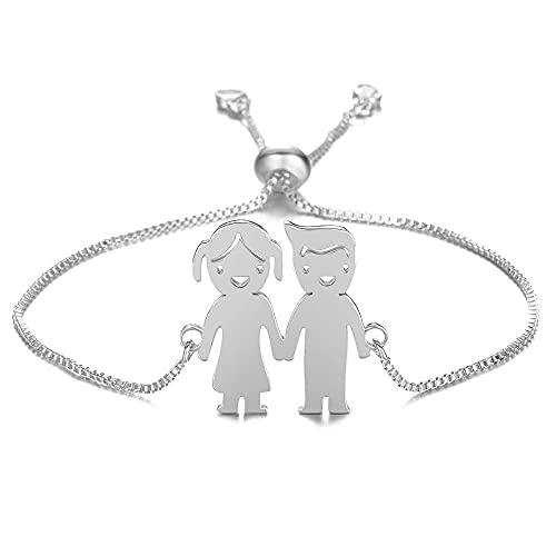 mimiliy Pulsera Personalizada Personalizada Lindo Bebé Muchacha Pulsera Acero Inoxidable Grabado Nombre Fecha Brazaletes Ajustables para Child Cumpleaños Grabado (Color : Silver 1 Girl 1 Boy)