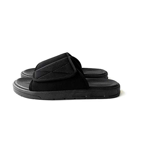 LNLJ Zapatos para diabetes ajustables, cómodos, con pulgar invertido, pantuflas para diabéticos para hombres y mujeres, color negro, talla 42, con cierre de velcro