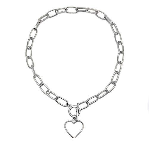 Cadena de Caja Broche de Palanca Collar de Oro Collares Circulares enlazados Mixtos para Mujeres Gargantilla Minimalista Collar Collier Femme Collar, OT Love Silver