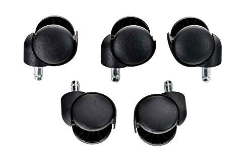 CLP Paquet de 5 roulettes en Plastique pour Fauteuil de Bureau I roulettes Universelles pour Chaise de Bureau I Roulette Adaptées aux Sols Lisses et Tapissés Noir