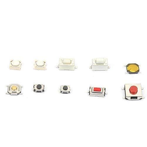 LANTRO JS-Mixed Kit de surtido de interruptores de botón pulsador de 10 tipos, Kit surtido de interruptores de pulsador de tacto micro momentáneo en total 250PCS con caja de plástico