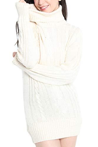 LinyXin Cashmere Damen Winter Kaschmir Langarm Rollkragen Pullover aus Wolle Kleid Gestrickter Sweater Pullover Kleid (XL / 46, Beige)