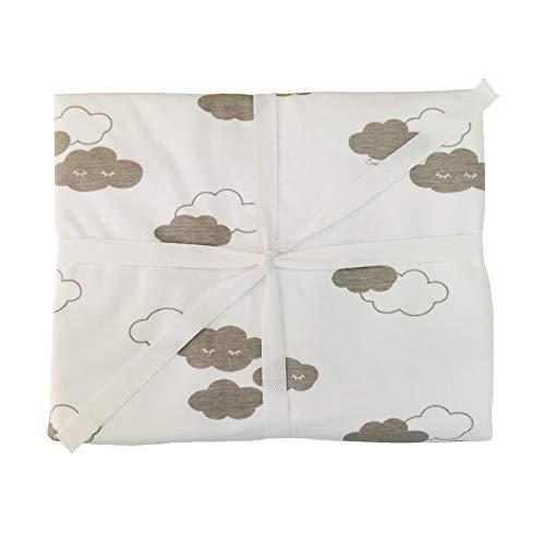 ÜneeQbaby Sábana bajera impermeable totalmente ajustable – Algodón orgánico GOTS, Certificado Oeko-TEX Clase I, Protector de colchón para cuna de bebé y cama infantil (nubes 60 x 120 cm)