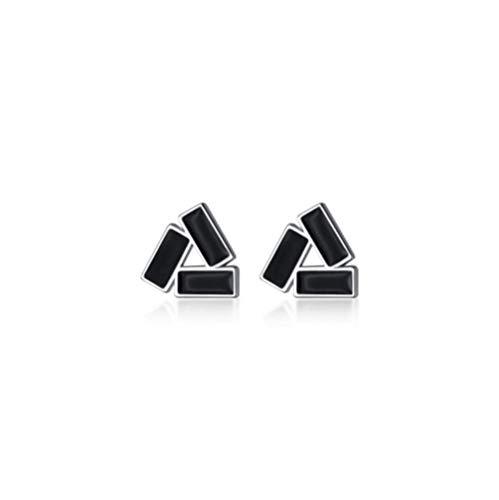 Zaaqio Pendientes de botón de triángulo de circonita Negra geométrica de Plata Real para Mujeres Adolescentes joyería de Fiesta de Oficina