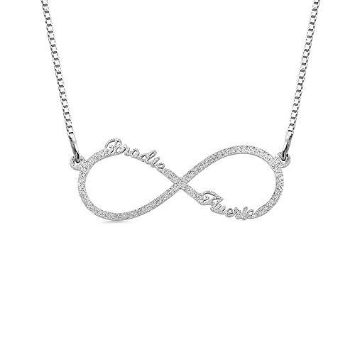 Unendlich Namenskette Sterling Silber mit 1/2/4/6 Name Halskette Damen Persönalisierte Namen Halskette Individuelle Unendlichkeit Familienkette Kette für Frauen Mädchen Schmuck (2 Name)