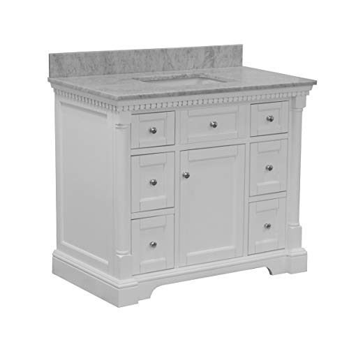 Sydney 42-inch Bathroom Vanity (Carrara/White): Includes White Cabinet with Authentic Italian Carrara Marble Countertop and White Ceramic Sink
