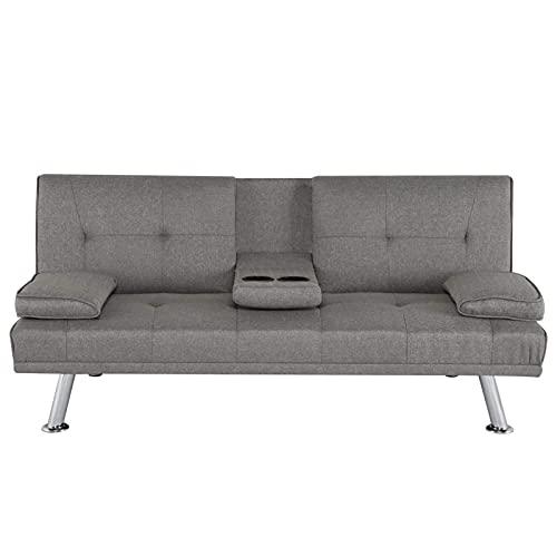 YEEGO Sofá cama reclinable multifuncional de 3 plazas moderno de tela de lujo sofá cama sofá cama con portavasos, sofá cama ampliable sala de estar