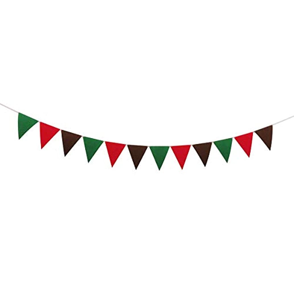 Christmas Home Party Decorations Multi Color Pennant Banner Flags Green Red Brown
