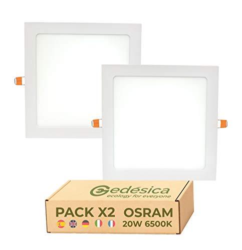 PACK X2, lamparas de techo, 20W 2400LM ⊠ Diámetro 220mm, ⊠ 205mm agujero de corte, panel led techo cuadrado de empotrar, ideal para dormitorio, Salón, Pasillos, Baños (6500K- Luz Blanca Fría)