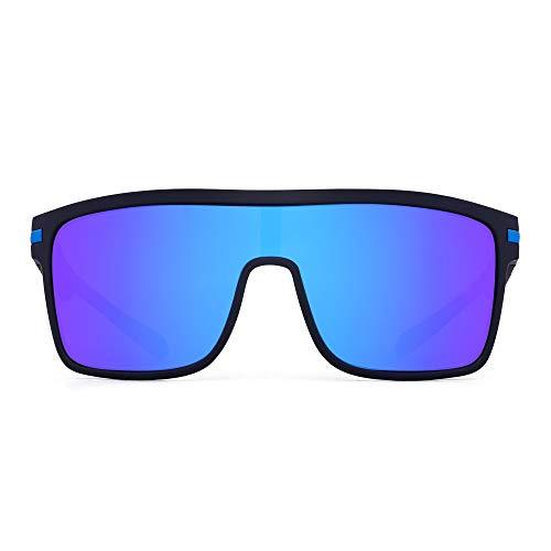JIM HALO Occhiali da sole polarizzati con scudo Occhiali da sole quadrati oversize per uomo (montatura nera/lenti blu flash polarizzate)