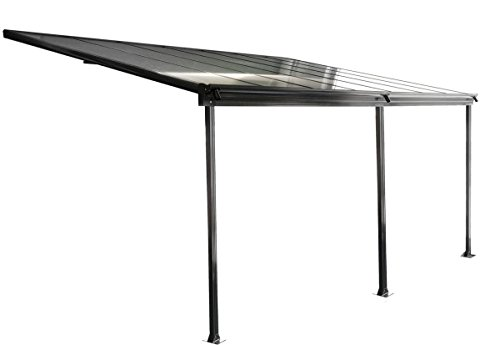 osoltus Aluminium Terrassenüberdachung Terrassendach Veranda grau/weiß 435 x 300 cm (Grau)