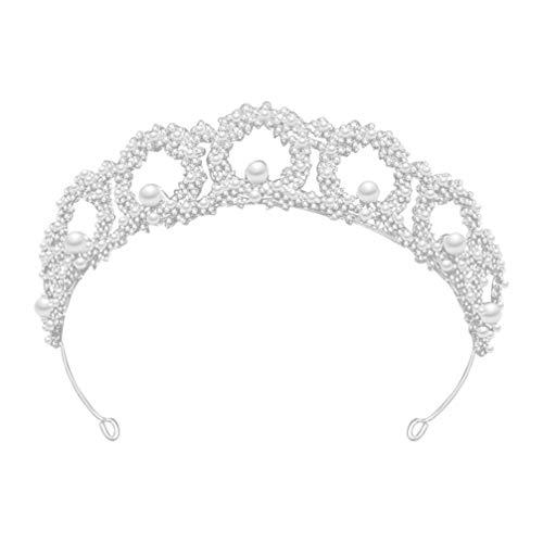 PIXNOR Tiara de Cristal Corona Nupcial Diadema Brillante Diamante de Imitación Joyería para El Cabello Boda Graduación Corona Accesorios para El Cabello para Mujer Chica Fiesta