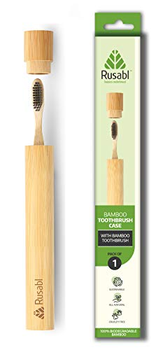 Rusabl Bamboo biodegradable Toothbrush with Bamboo Case - Charcoal activated soft bristles Bamboo Toothbrush with a Natural and Eco Friendly Accessory (1 Pack - Adult)