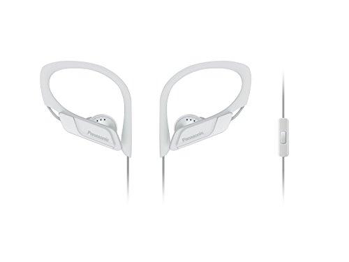 Panasonic RP-HS35ME-W - Auriculares Deportivos (Impermeable, Uso Cómodo y Ultraligero, Micrófono, Cancelación de Ruido, Deporte para Iphone y Android) Color Blanco, Longitud del Cable 1.2 m