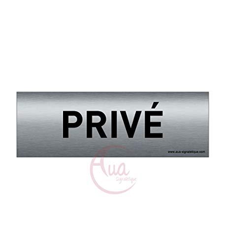 AUA SIGNALETIQUE - Plaque de porte Aluminium brossé imprimé AluSign Texte - 150x50 mm - Double Face adhésif au dos (Privé)