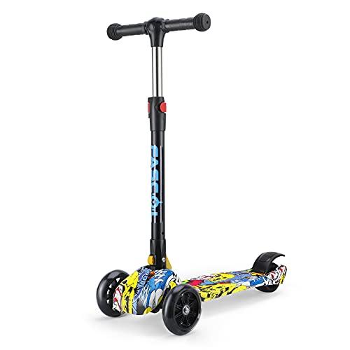 Fascol Kinderroller Faltbar, Kinderscooter ab 3-8 Jahre Roller Kinder mit LED Räder und Höhenverstellbarer Lenker, GraffitiScooter Belastbarkeit bis 50 kg, Schwarz