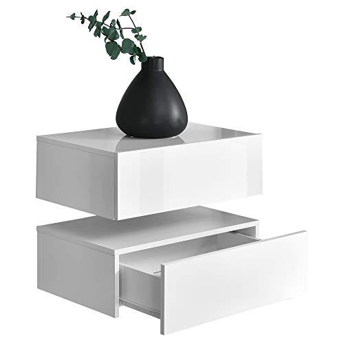 [en.casa]® 2 x Mensola da parete con cassetto - Bianco laccato lucido/opaco - 46x30x15cm
