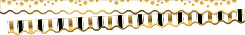 """Barker Creek Double-Sided Scalloped Border, Gold Coins, for Bulletin Boards, Reception Areas, Halls, Break Rooms, Office, School, Home Learning Decor, 2.25"""" x 39' (903)"""