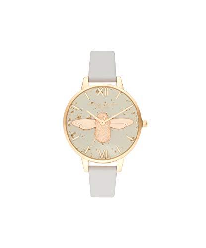 Olivia Burton Damen Analog Quarz Armbanduhr mit Lederarmband OB16GD37