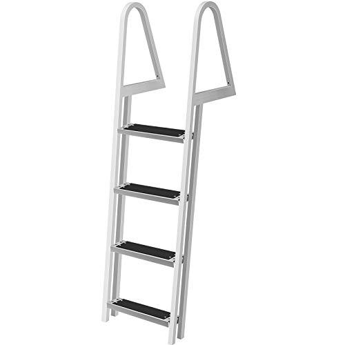 VEVOR Removable Dock Ladder with Rubber Mat, Pontoon Boat Ladder with Mounting Hardware, Swim Ladder Aluminum 4 Step, Each Step 16