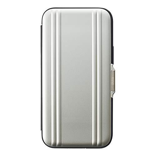 【iPhone12 mini ケース】ZERO HALLIBURTON Hybrid Shockproof Flip Case (Silver)