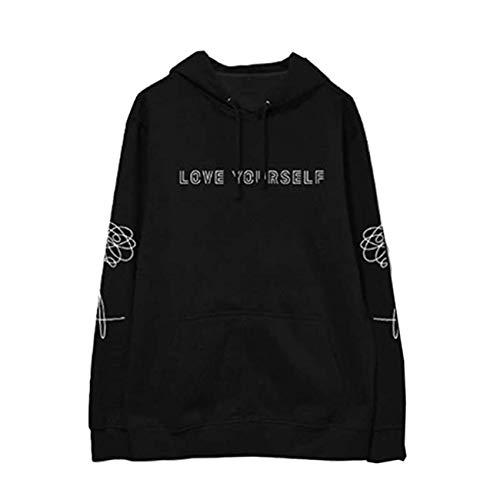 SERAPHY Unisex Pullover Love Yourself Sweatshirts Kapuzenpullover Suga Jin Jimin Jung Kook J-Hope Rap-Monster V schwarz M