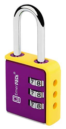 Combinatieslot, cijferslot voor spindel/hangslot met cijfercode nummers/combinaties hangsloten voor spinnen, schoolspin, sporttassen, bagage, koffer kleuren Violet-geel