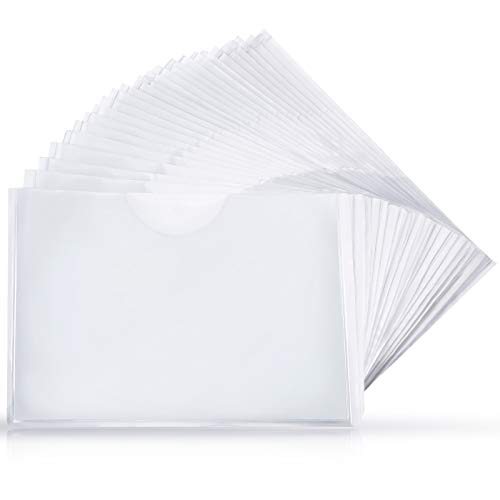Self-Adhesive Business Card Pockets with Top Open for Loading, Card Holder for Organizing and Protecting Your Cards or Photos, Crystal Clear Plastic (6.1 x 8.9 Inches, 30 Packs)