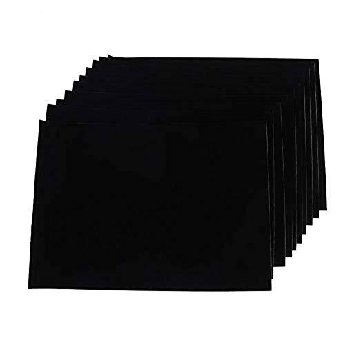 Hojas adhesivas de tela de fieltro de 10 piezas, hojas adhesivas traseras, hojas autoadhesivas para manualidades, forro de joyero, almohadillas protectoras de muebles resistentes al agua (negro)