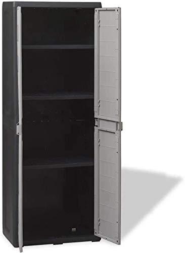 Outdoor-Schrank mit drei verstellbaren Fachböden, Lagerung Kunststoff-Garten,Grey