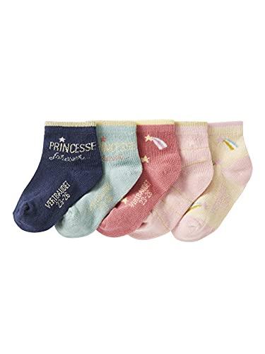 VERTBAUDET Lote de 5 pares de calcetines medianos Princesa ROSA MEDIO BICOLOR/MULTICOLOR 23/26