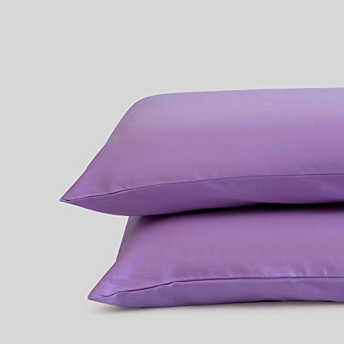 Fabdreams 100% Organic Cotton Standard Pillow Case Set   Queen Pillow Case Set   Lilac   20' x 30'   Sateen Weave   400 Thread Count   GOTS Certified   Soft Silky Shiny   Luxury Finish   Sustainable